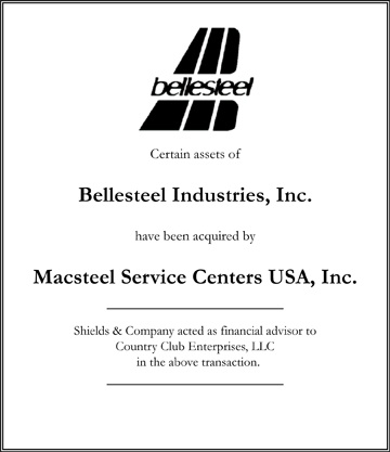 Bellesteel Industries niche manufacturing transactions