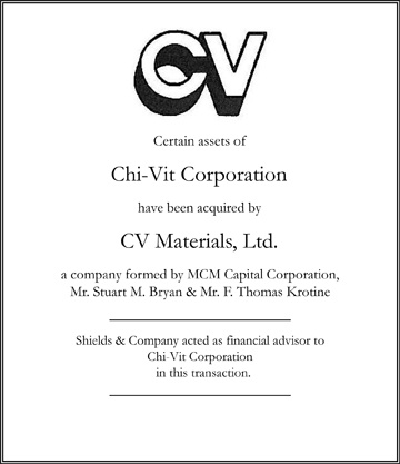 Chi-Vit Corporation niche manufacturing transactions