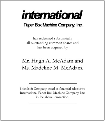 International Paper Box Machine Company niche manufacturing transactions