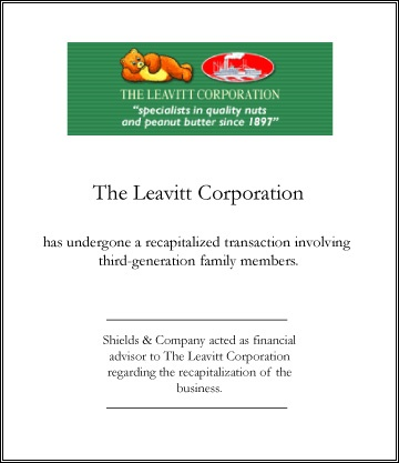 Leavitt Recapitalization