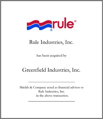 Rule Industries niche manufacturing