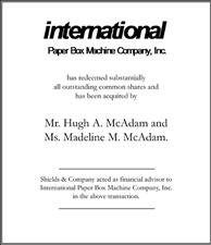 International Paper Box Machine Company.
