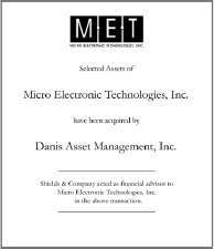 Micro Electronic Technologies, Inc..